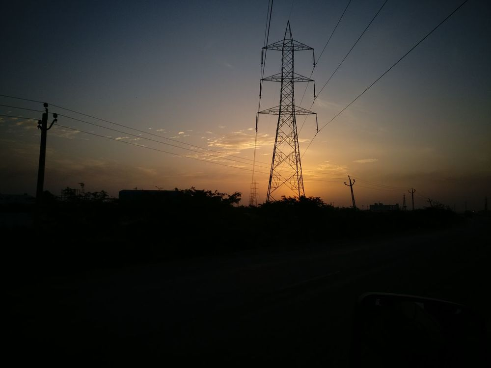 Sunrise with power..... Silhouette sunrise Cable Electricity  Electricity Pylon Sunset Fuel And Power Generation Power Line  Dusk Power Supply Technology No People Landscape Sky Outdoors Nature Telephone Line Day First Eyeem Photo