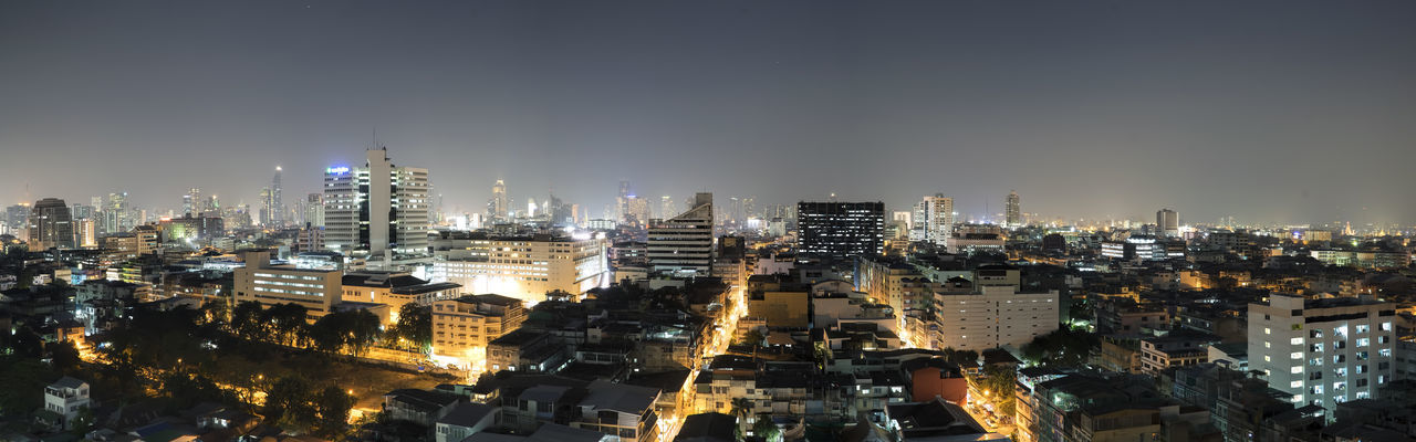 Panoramic view of Bangkok at night, The Golden Mount Temple on the far right... Bangkok Citiscape  City City View  Cityscape Clear Sky Development Landscape_photography Landscape_Collection Landscapes With WhiteWall Modern Night Office Building Panoramic Bangkok Sky Sunrise Sunrise_sunsets_aroundworld Sunset Urban Skyline