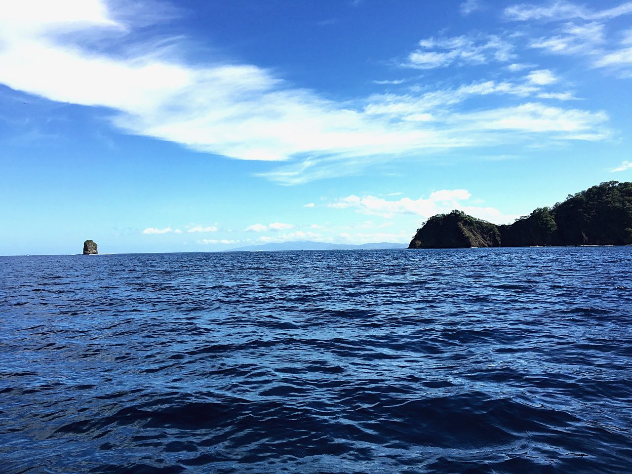 Blue Sea Water Sky Horizon Over Water Lone Rock Tranquil Scene