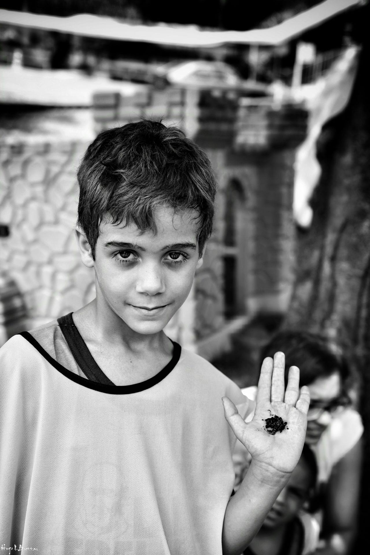 Portrait Looking At Camera One Person Real People Smiling Front View Leisure Activity Lifestyles Childhood Happiness Cheerful Freshness Children Photography Social Documentary School Children Black And White Black & White Social Photography Boys Photography The Portraitist - 2017 EyeEm Awards
