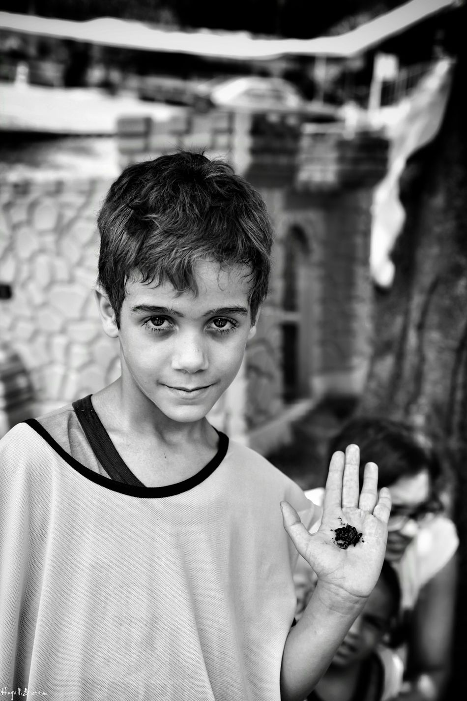 Portrait Looking At Camera One Person Real People Smiling Front View Leisure Activity Lifestyles Childhood Happiness Cheerful Freshness Children Photography Social Documentary School Children Black And White Black & White Social Photography Boys Photography
