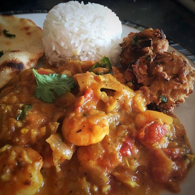 Prawn Masala for curry night-in... Homemade Food Indian Curry Indian Food Indian Spices Prawn Curry Flatbread  Pakoras Basmati Rice Foodphotography Foodie Food Porn Foodblog Foodblooger