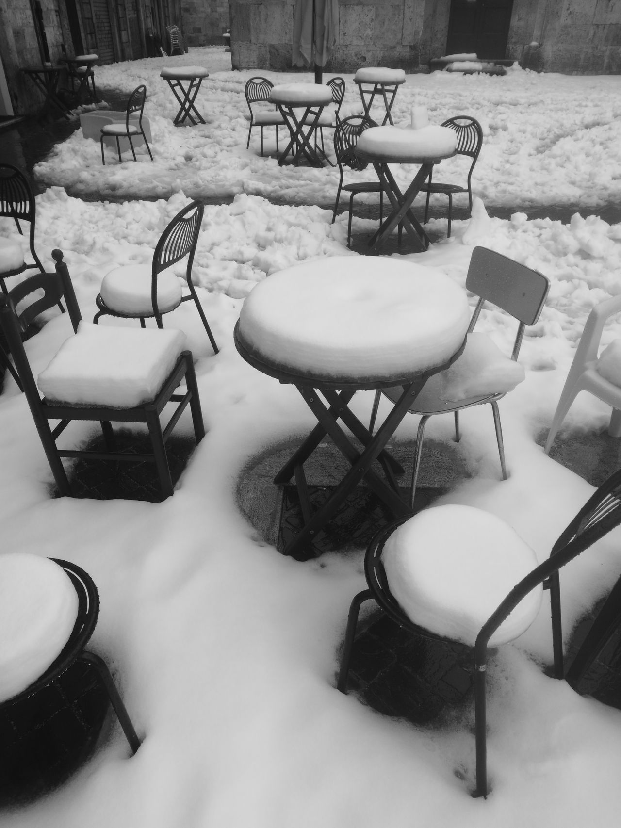 Outdoors Day No People Beauty In Nature Nofilter Blackandwhite Ascoli Piceno Snow Snow Day Casualphotography Strange Things Snow Covered Geometrical