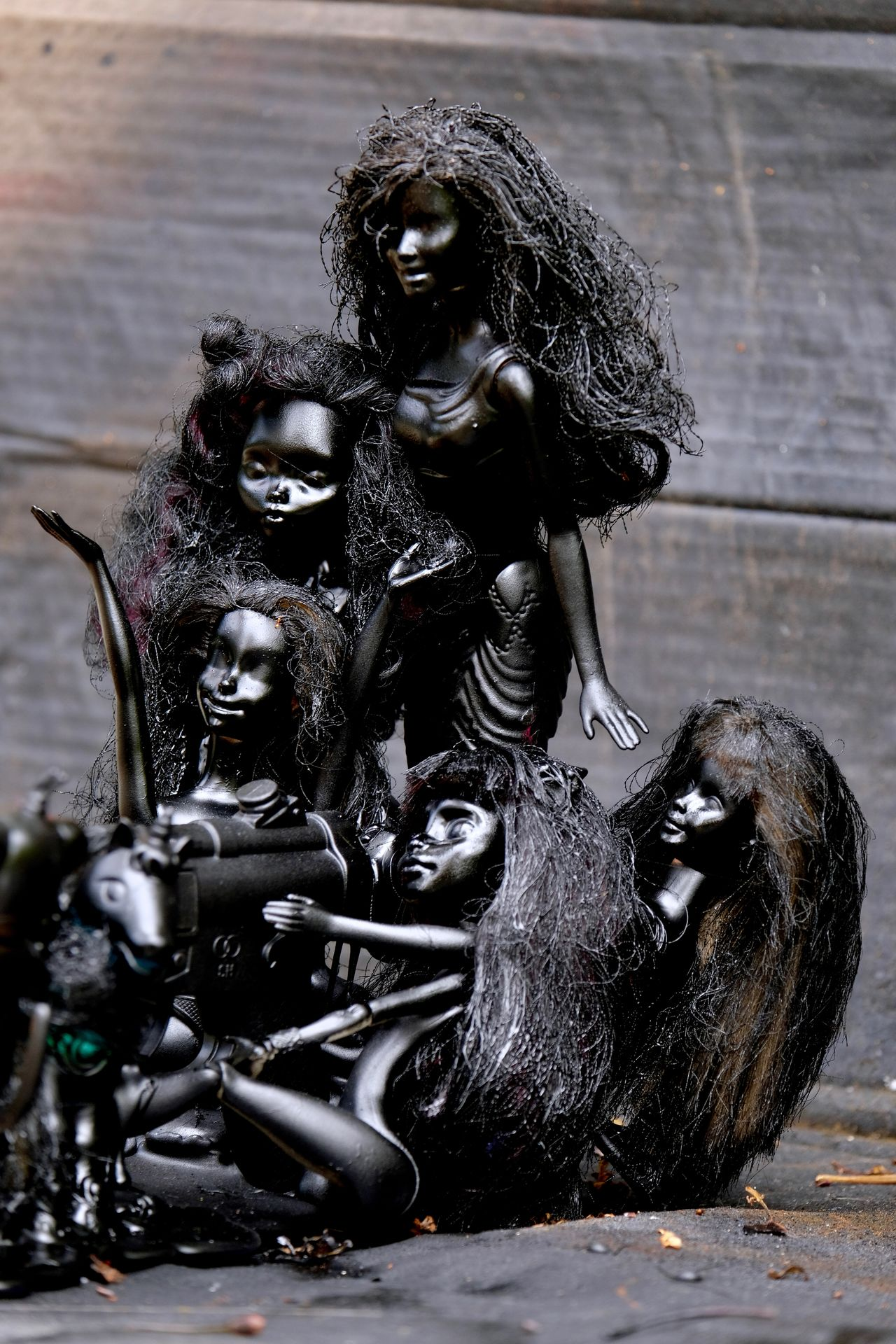 High Five! Big Gun Black Barbies BYOPaper! Close-up Creativity Famous Five Female Likeness Girls Human Representation Petrol Sculpture