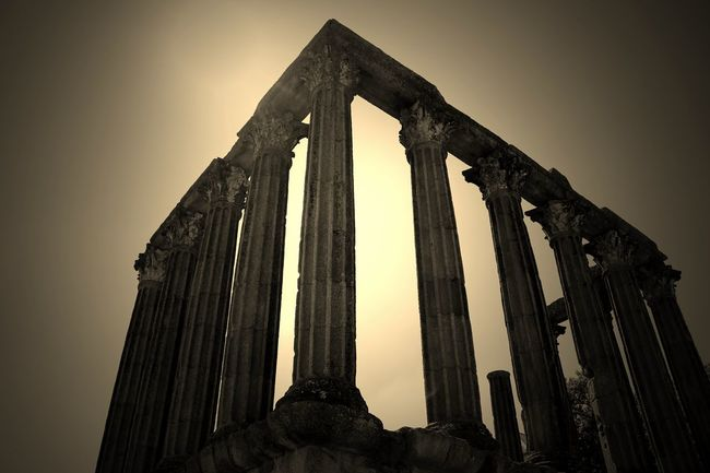 Roman Temple Edited Edited My Way Eye4photography  EyeEm Best Edits EyeEm Best Shots EyeEmBestPics Ruins From My Point Of View Sepia Still Life Sepia_collection Sepiatone Temple Temple Ruins Historical Monuments Travelphotography Sky And Clouds EyeEm Gallery Taking Photos at Templo De Diana Évora  Portugal
