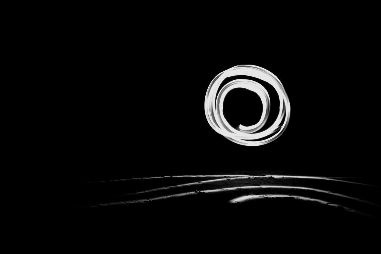 Night Black Background Dark No People Electricity  Spiral Illuminated Light Light Painting Letra O Rolled Up Blackandwhite Blancoynegro Monochrome Nightphotography Oh! Oh Ohmmm