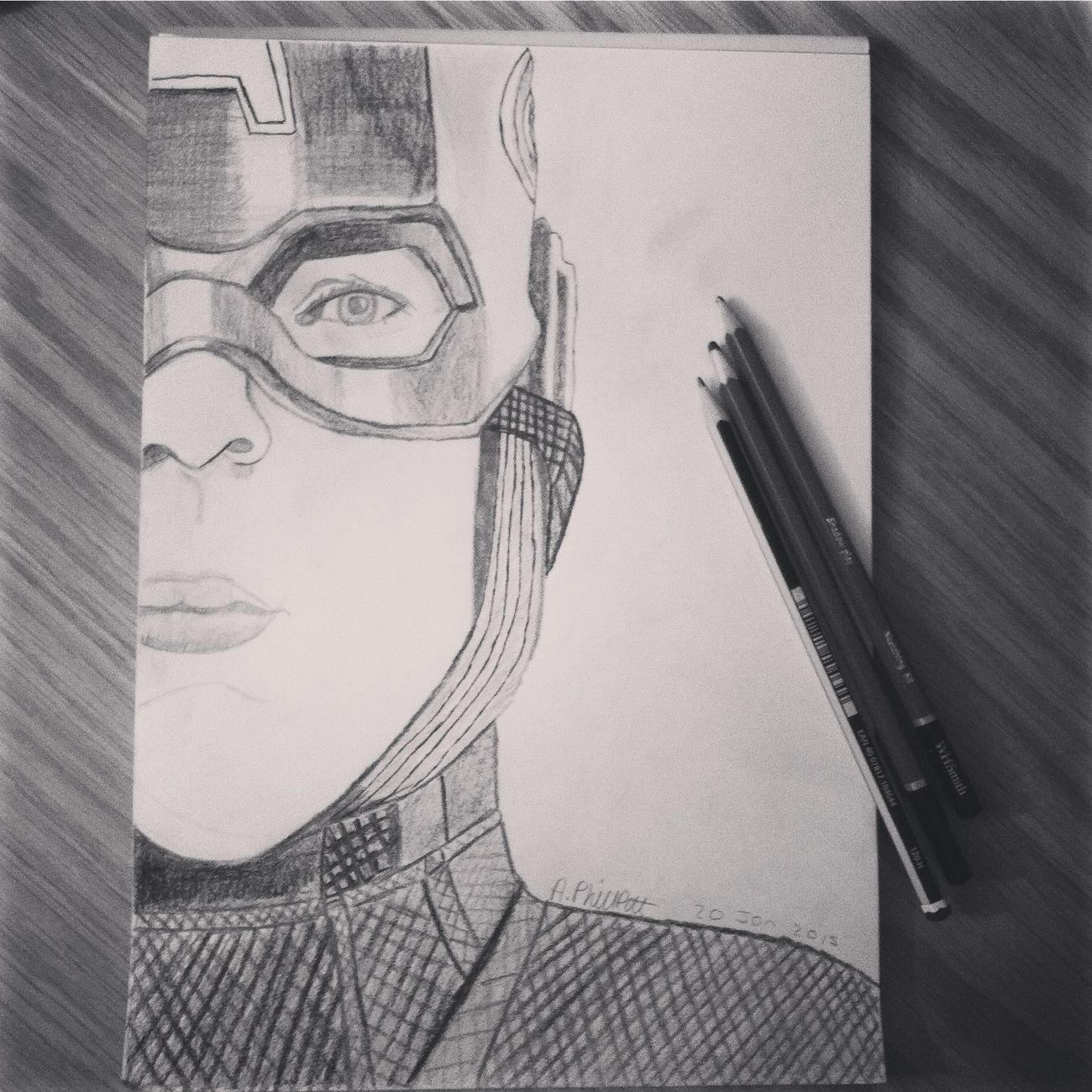 My drawing of Captian America Captianamerica Drawing First Eyeem Photo