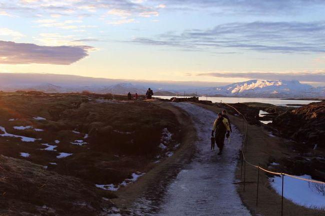 Diver Footpath Iceland Leisure Activity Mountain Road Nature's Beauty Scenics SCUBA Scuba Diving Sunrise Thingvellir National Park Tranquil Scene Tranquility Walkway Winter Wonderland Winter Wonders þingvellir