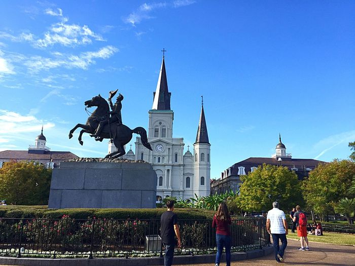 Architecture Building Exterior Built Structure Statue Sculpture Travel Destinations Human Representation Real People Place Of Worship Sky Outdoors Day Religion City Men Cultures St. Louis Cathedral Jackson Square New Orleans New Orleans, LA New Orleans EyeEm New Orleans Life Statue City