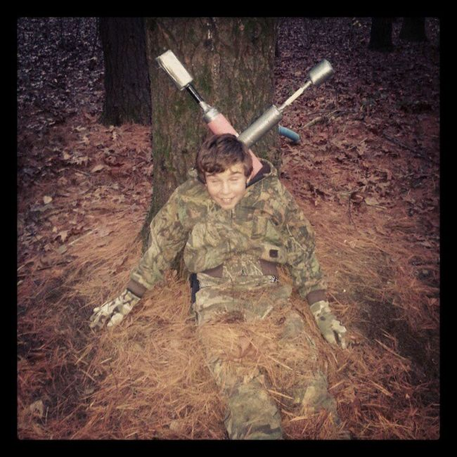 One of the scouts playing dead!!