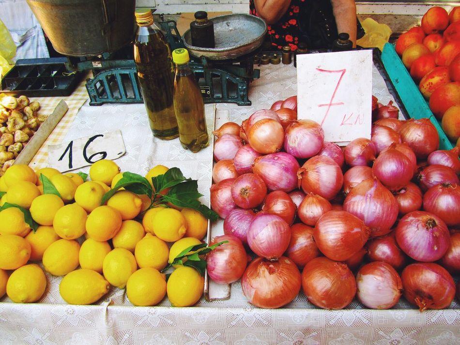 Beautifully Organized Split Croatia Farmers Market Market Vegetables Onions Lemon Summer Food Healthy Eating