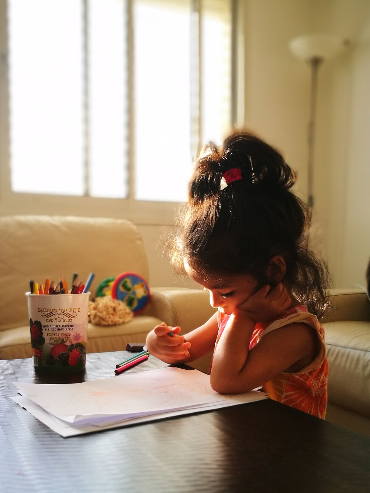 Child Indoors  Childhood Girls Drawing - Activity Learning Children Only Writing Cute One Girl Only One Person Domestic Life People Home Interior Domestic Room Lifestyles Sitting Crayon Portrait Paper