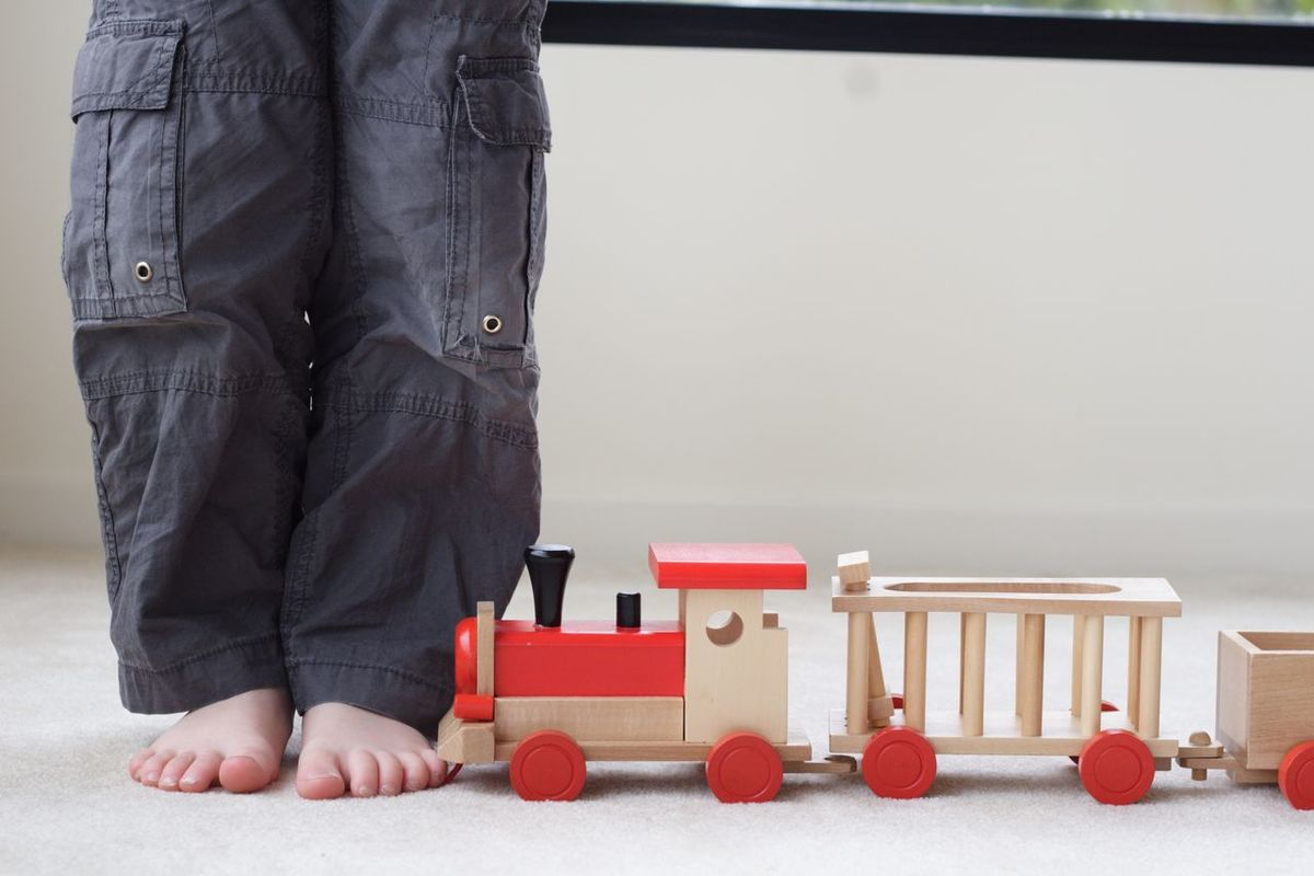Boy Child Childhood Day Human Body Part Low Section One Person People Playing Red Toy Toytrain Train