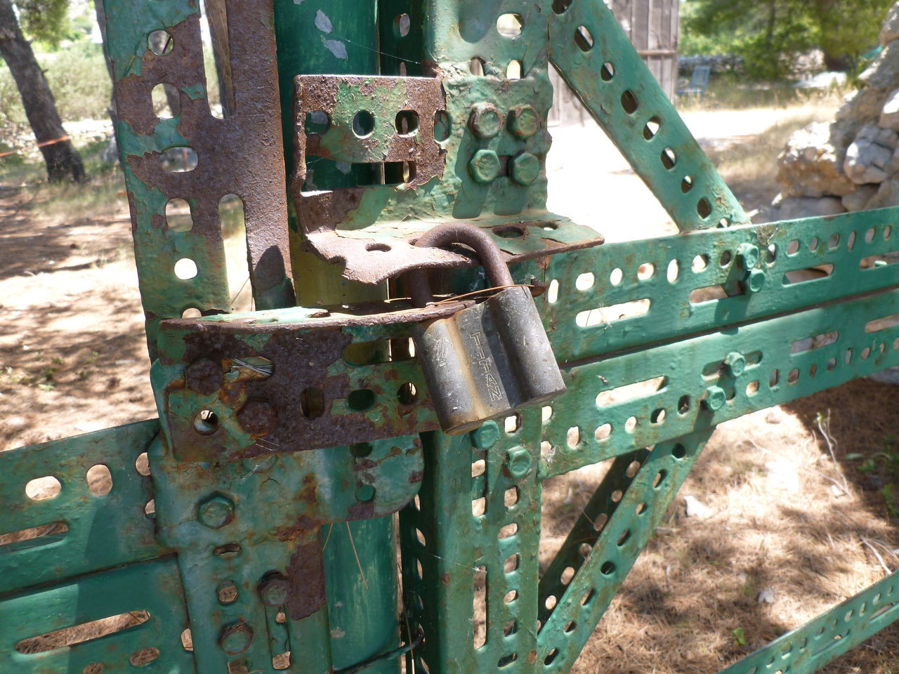 padlocked Angle Iron Barred Barred Entry Gate Gates Green Green Gate Keep Out Keep Out Private Metal Metal Gate No Entry No Entry Padlock Padlocked Padlocked Gate Padlocks Perforated Perforated Metal Pattern Perforated Plate Rust Rusty Rusty Gate Rusty Gates Security