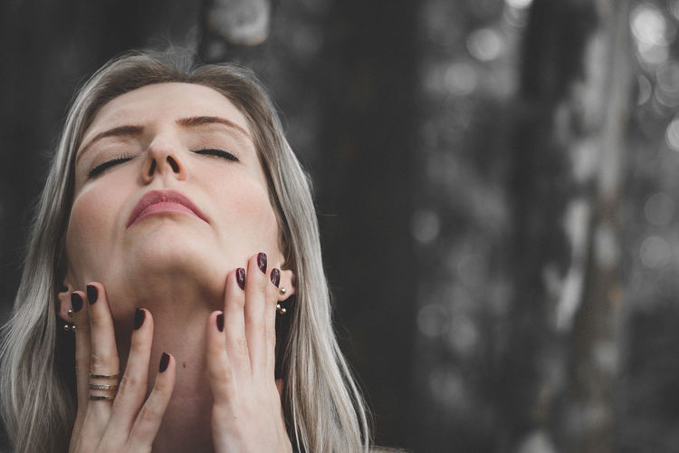Hands Nature Woman Beautiful Woman Blond Girl Blond Hair Close-up Eyes Closed  Face Fell Felling Focus On Foreground Front View Headshot Human Hand One Person People Young Adult Young Women