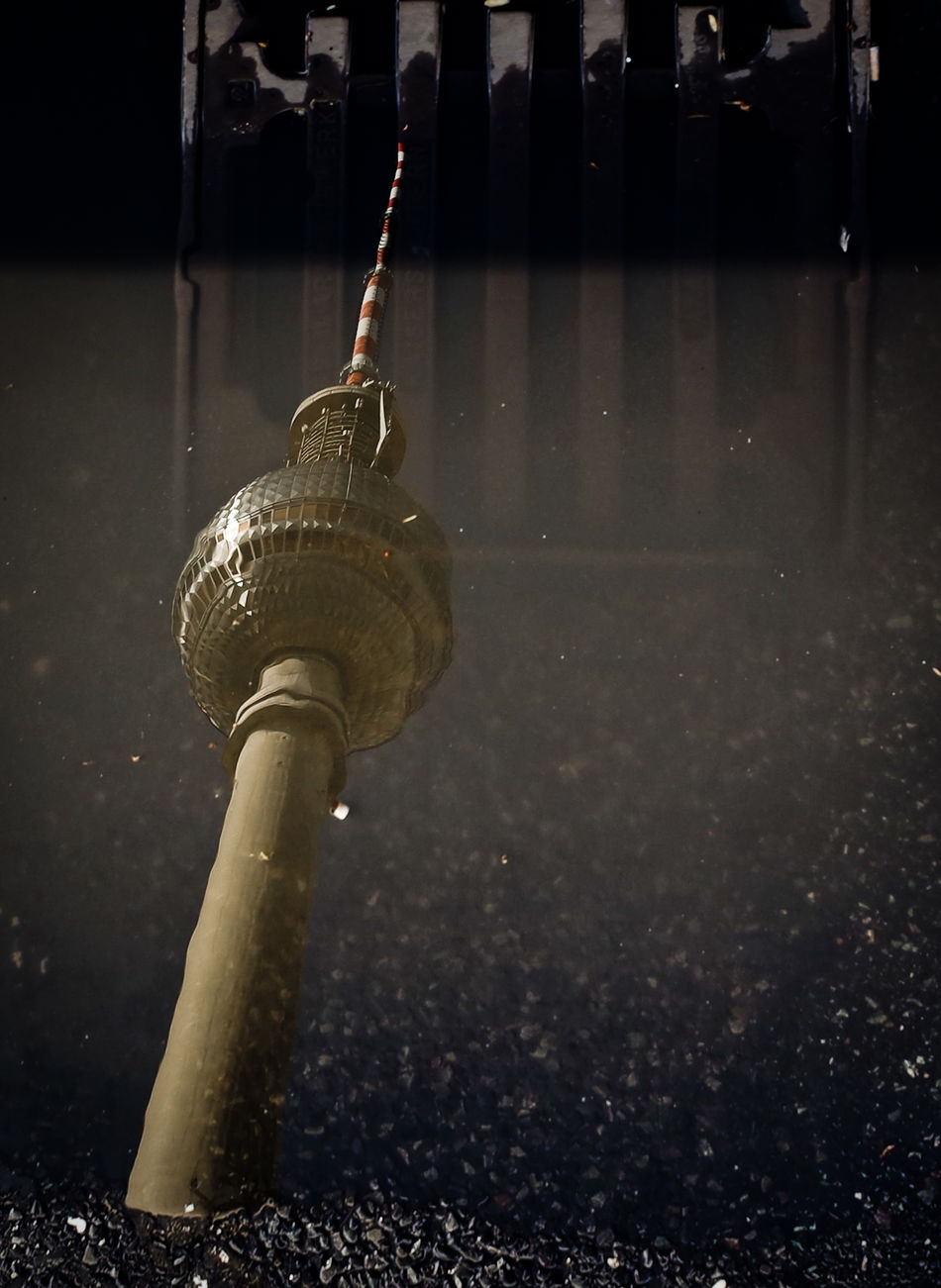 After the rain Architecture Built Structure Close-up Fernsehturm Berlin  No People Outdoors Puddle Puddleography Reflection_collection Television Tower