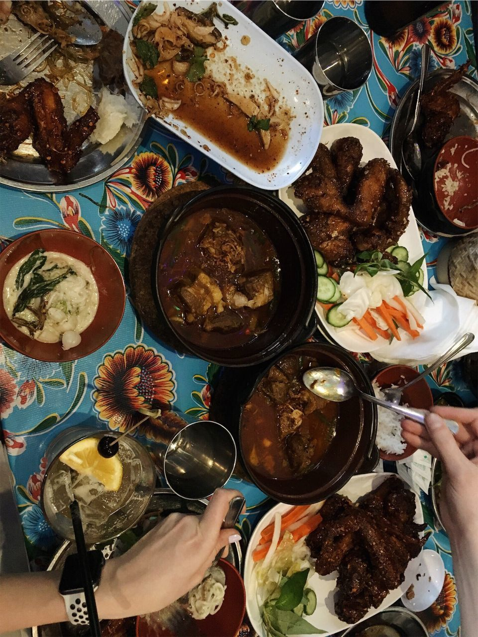 human hand, food and drink, food, human body part, real people, table, plate, holding, serving size, ready-to-eat, one person, freshness, high angle view, meat, directly above, meal, healthy eating, indoors, lifestyles, men, women, close-up, day, people
