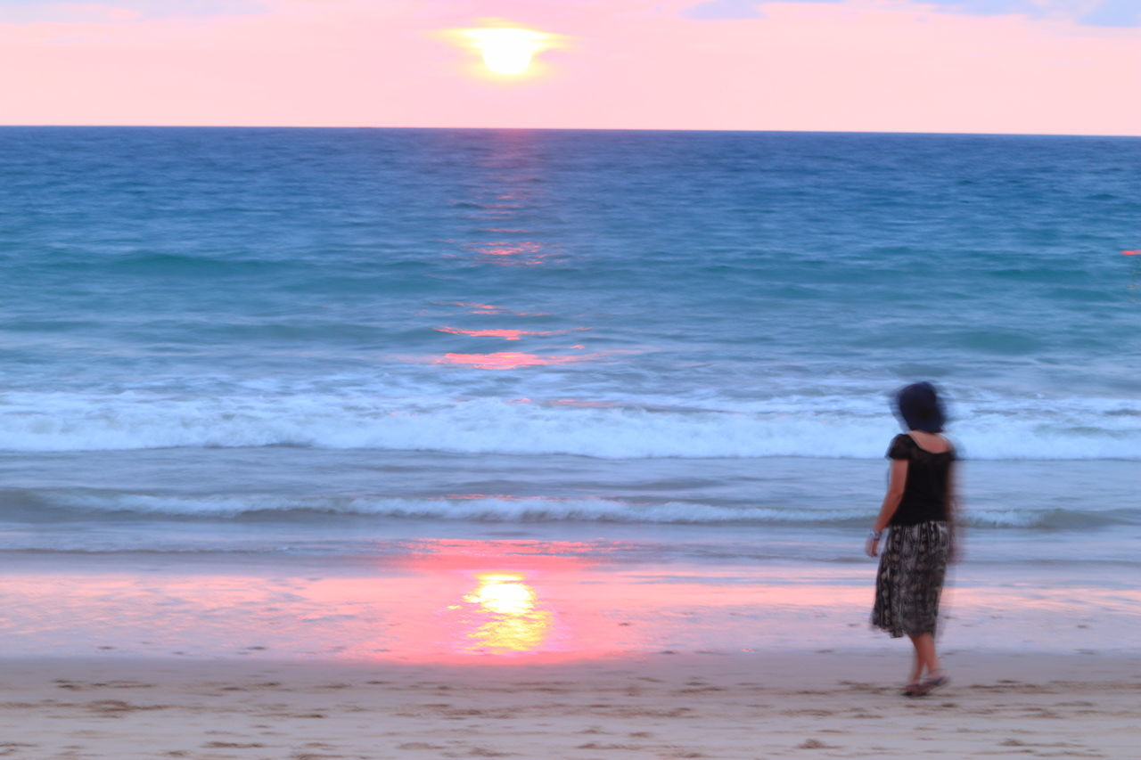 Women Around The World Sea Beach Horizon Over Water One Person Sunset Standing Water Rear View Tranquility Wave Vacations Scenics Tadaa Community Phuket Millennial Pink Long Goodbye Horizon Over Sea