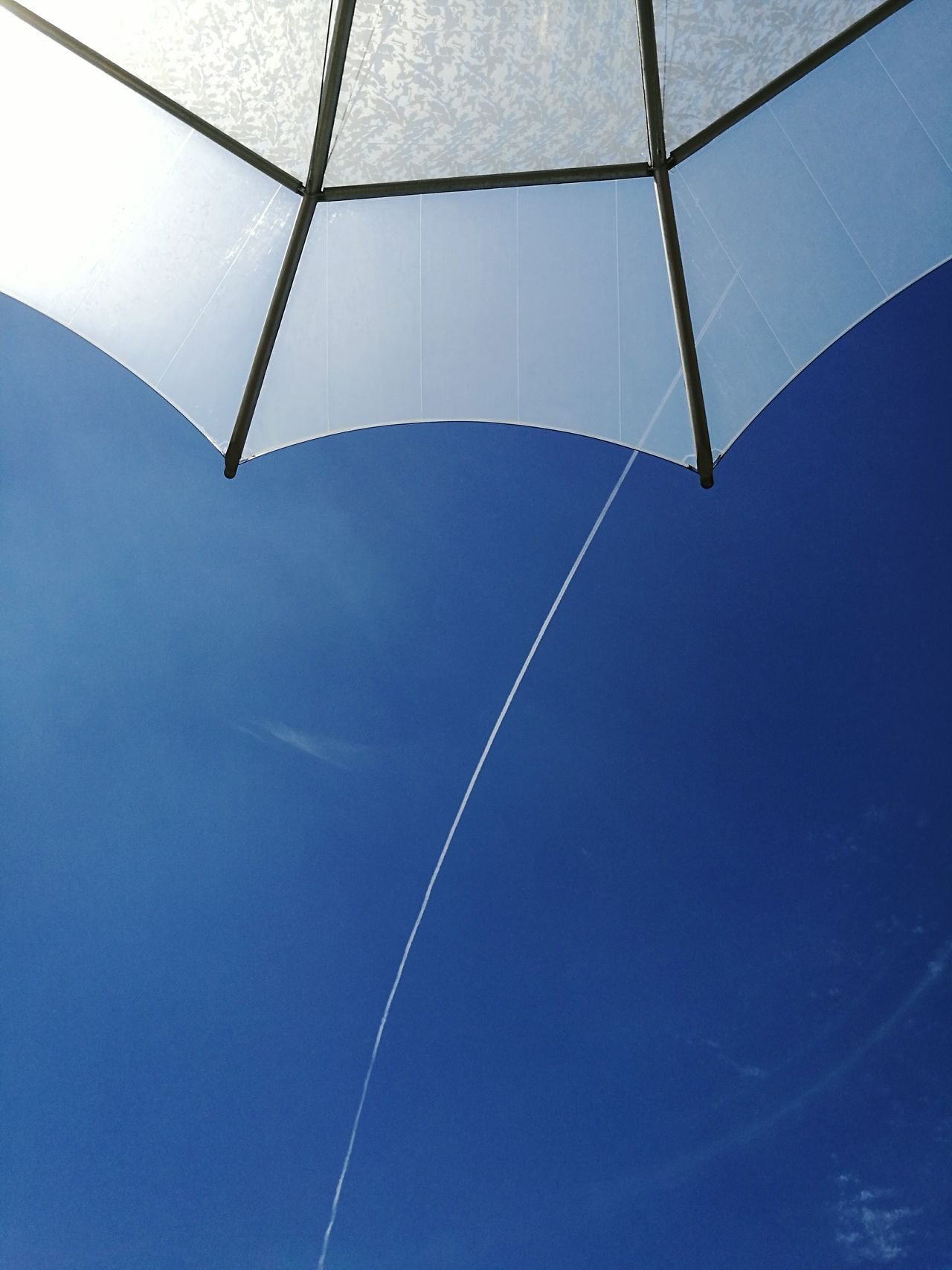 Low Angle View Blue Vapor Trail Sky Outdoors Modern High Up Jetstream Sunny No People Distant View Clear Sunny Day Clear Sky Summer Day HuaweiP9plus Huaweiphotography capturing motion My Year My View