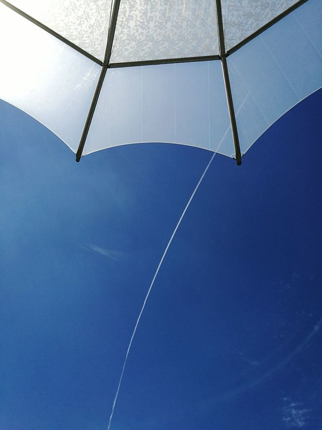 Low Angle View Blue Vapor Trail Sky Outdoors Modern High Up Jetstream Sunny No People Distant View Clear Sunny Day Clear Sky Summer Day HuaweiP9plus Huaweiphotography Capturing Motion