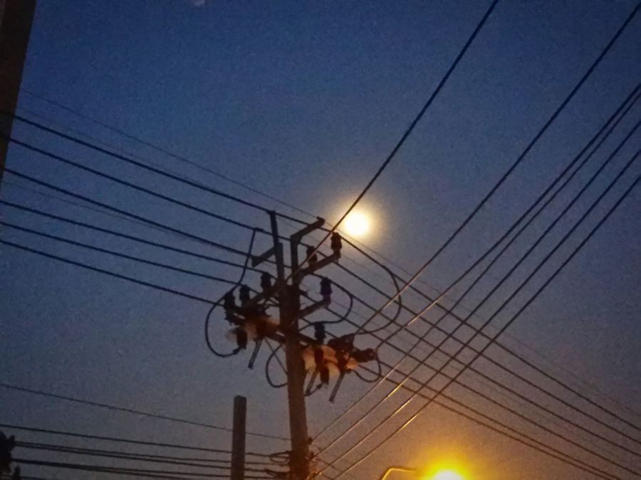 Moinlight and Electric light : Power Line  Electricity  Connection Cable Low Angle View Power Cable Clear Sky High Section ,Taling Chan Thailand.