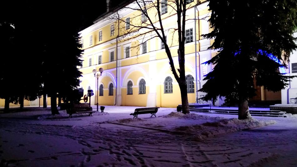 Snow Cold Temperature Winter Illuminated Architecture City Night Outdoors City Snowing Pinsk Winter 2016 Winter Christmas Decoration Architecture Christmas Style Of Photography Christmas Tree Happy New Year Weather
