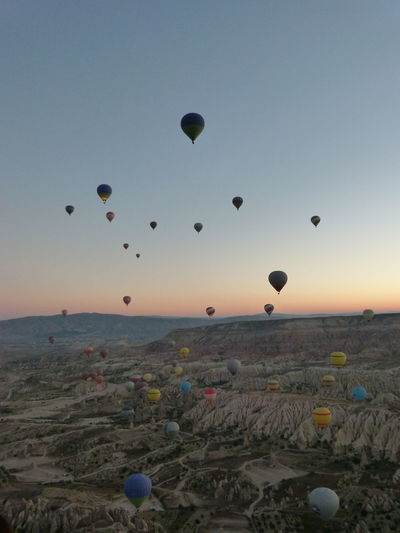 #NoFilter #Turkey #balloon #cappadocia #colours #dawn #hotairbaloon #nofiltertravel #travel #travelphotography Flying Mid-air Nature Sky Lost In The Landscape
