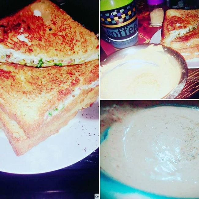 Something different Dinner for tonight Sandwich, coffee n my special fiery indiana sauce Believe BringHerBackToMe