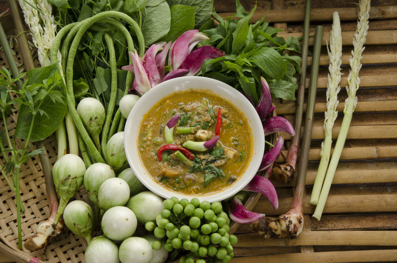 Vegetables curry spicy Northern Thailand food. Spicy Food Vegetables Curry Bamboo - Material Bamboo Texture Bowl Close-up Day Food Food And Drink Freshness Healthy Eating Indoors  No People Northern Thailand Food Vegetable