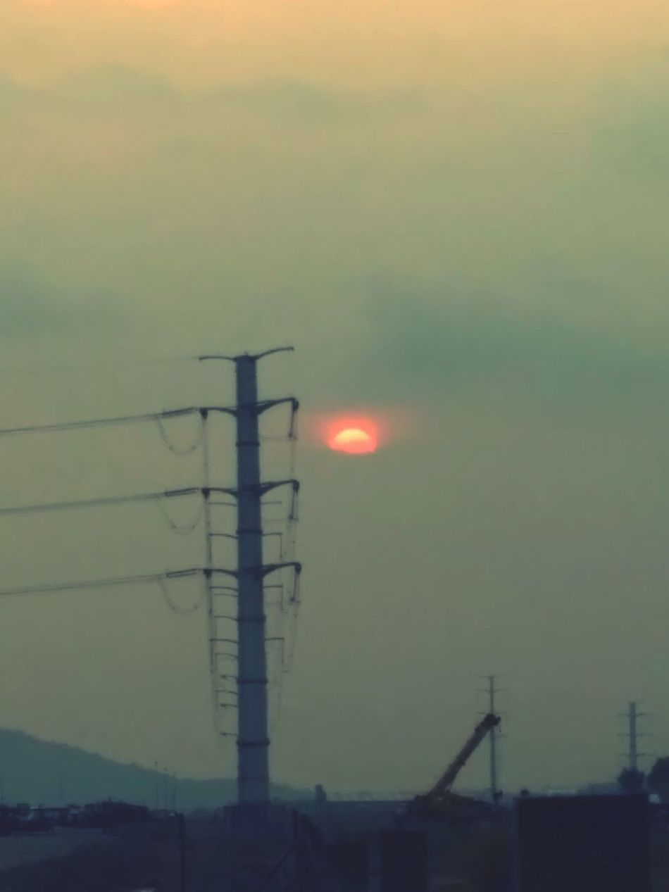 Sunset Sun Sky Connection Outdoors No People Electricity  Electricity Pylon Cable Nature Fuel And Power Generation Silhouette Built Structure Technology Beauty In Nature EyeEmNewHere