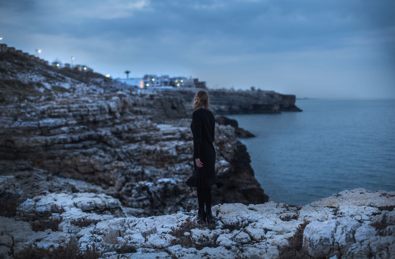 Bari Beauty In Nature Blond Cloud - Sky Evening Feel Full Length Girl Italia Italian Landscape Lights Lone Lonely Mountain Nature One Person Only Women Outdoors Picoftheday Portrait Sea Sky Stone TheWeekOnEyeEM