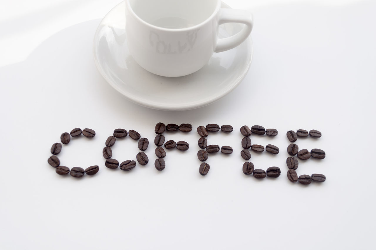 Check This Out Close-up Coffee Coffee - Drink Coffee Beans Coffee Break Coffee Cup Cup Drink Food And Drink Freshness Healthy Eating High Angle View Indoors  ISO Milk No People Refreshment Scented Studio Shot White Background White Color