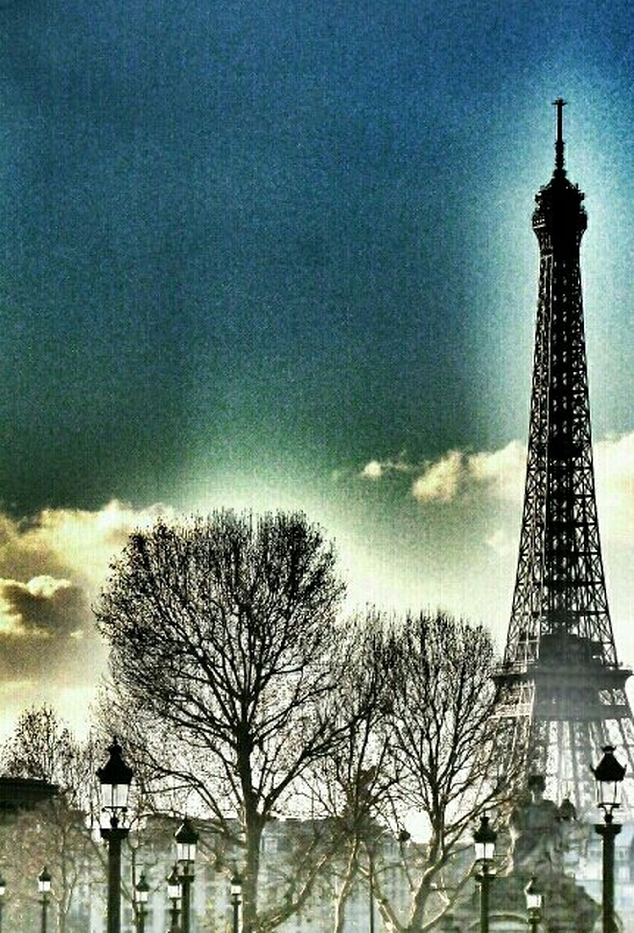 built structure, architecture, tower, building exterior, sky, low angle view, tall - high, cloud - sky, tree, bare tree, travel destinations, cloudy, international landmark, famous place, communications tower, eiffel tower, city, no people, cloud, history