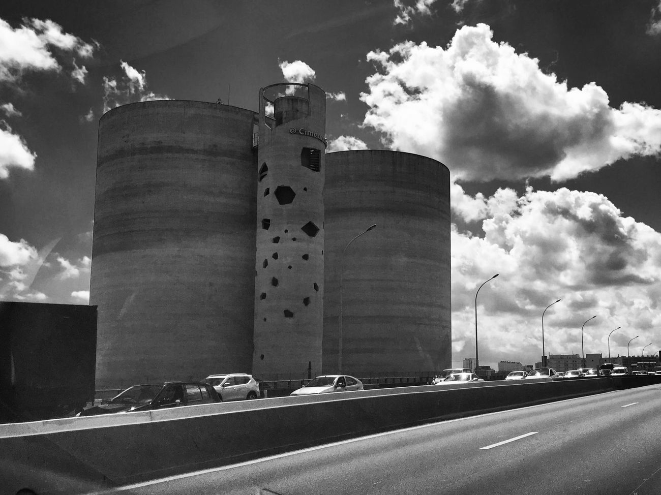 Paris Beltway Motorway On The Road Cementworks Architecture Cars Traffic Beautiful Sky Clouds Sunny Day Light And Shadow Perspective Geometric Shapes Bnw Bnw_captures Bnwphotography Blackandwhite Photography Blackandwhite EyeEm Best Shots - Black + White From My Point Of View Eye4photography  EyeEm Best Shots EyeEm Gallery Taking Photos