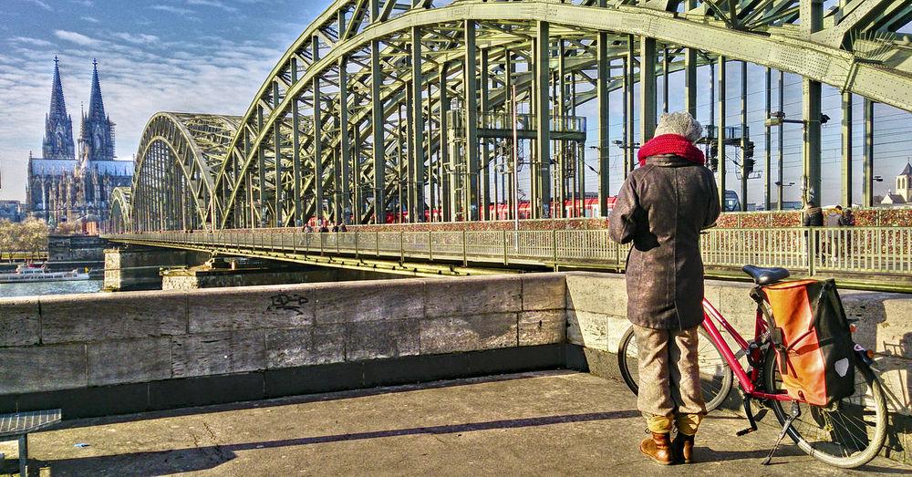 Architecture Binoculars Cologne , Köln,  Cologne Cathedral Cool Atmosphere Cyclist Day Deutzer Brücke Fernrohr Köln Kölner Dom Outdoors PLAKATiv Radfahrer Rhine Rhine Bridge Sonnig Sunny Surreal Surreal_manipulation