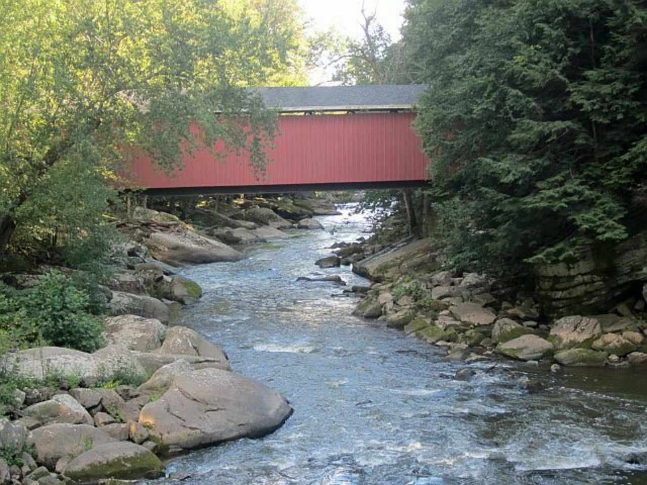 Covered bridge with river Water River Tree Day No People Plant Outdoors Nature Bridge Covered Bridge Riverscape Riverview Beauty In Nature Nature Motion Wood