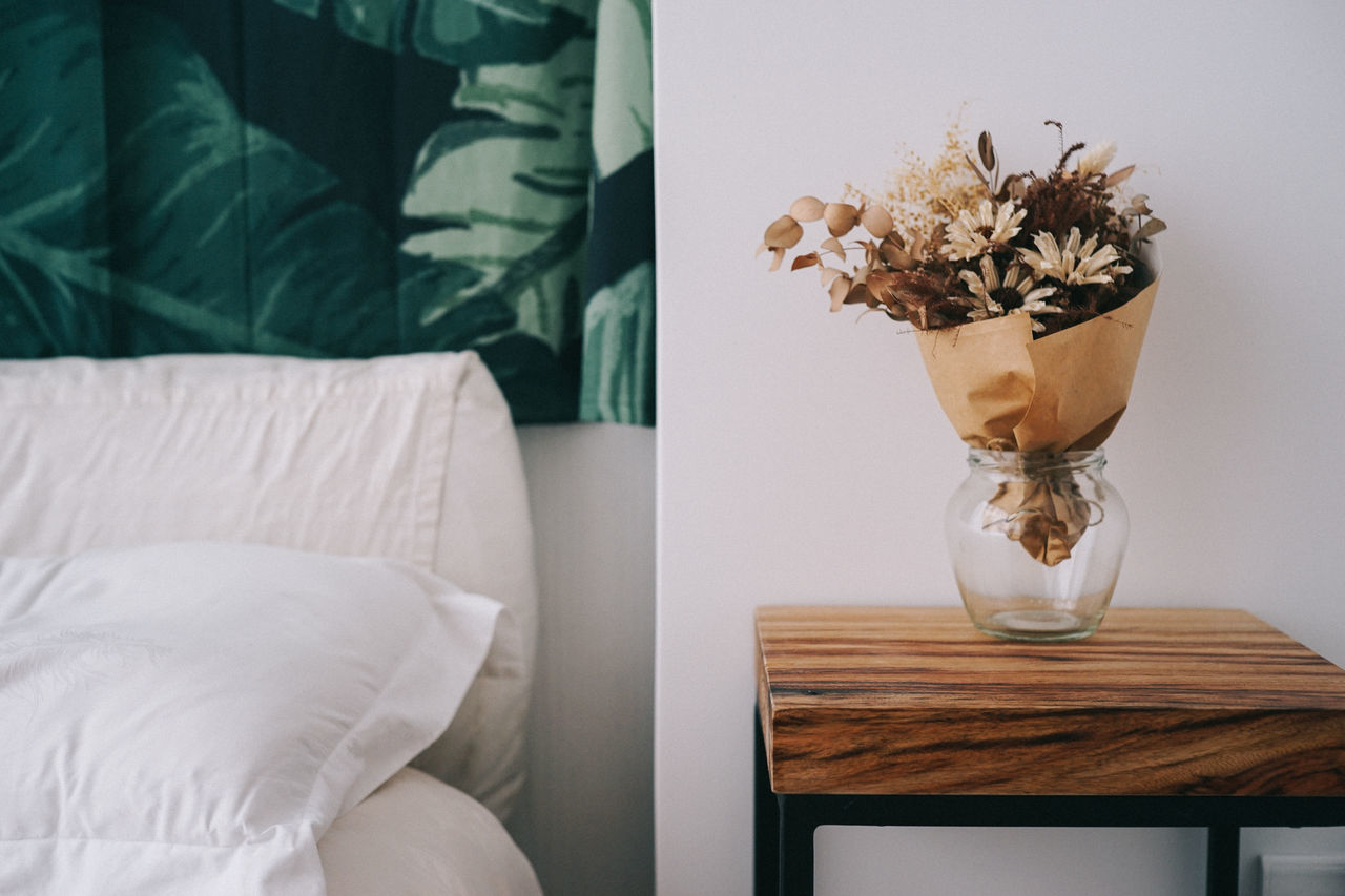 Bed Bedroom Close-up Comfortable Day Dryflower Flower Home Interior Home Showcase Interior Indoors  Leaf Nature No People Pillow Side Table Table Vase