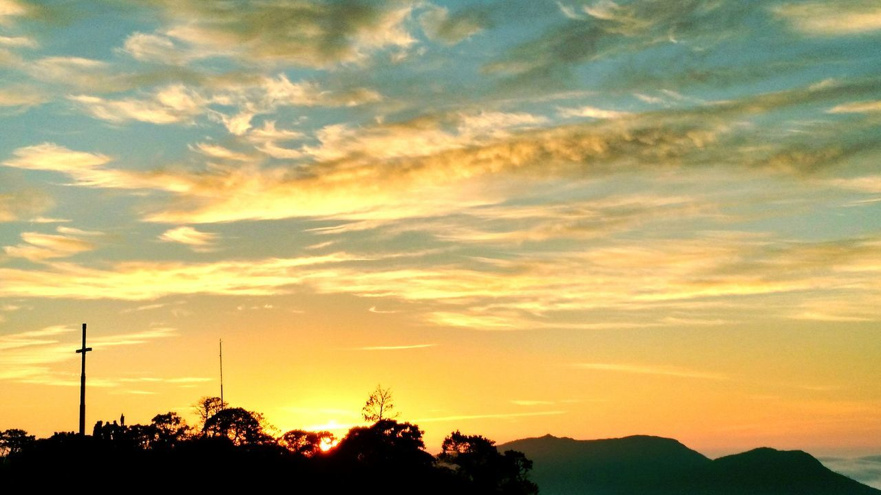 sunset, cloud - sky, silhouette, sky, beauty in nature, dramatic sky, tree, orange color, nature, scenics, tranquility, no people, tranquil scene, outdoors, technology, day