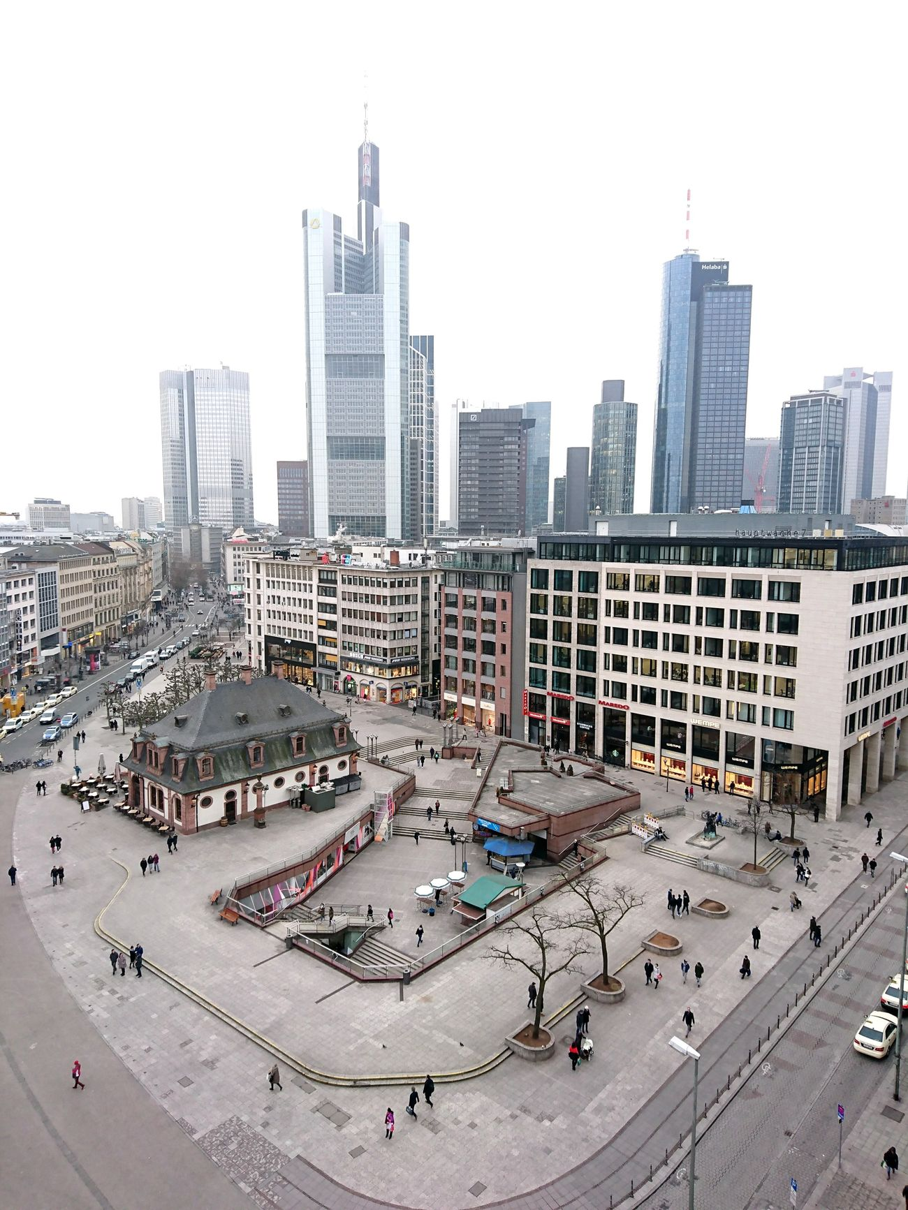 Frankfurt skyline City Skyscraper Urban Skyline City Life Cityscape High Angle View Architecture Building Exterior Travel Destinations Downtown District Sky Day People