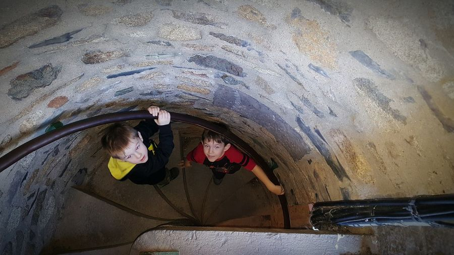 Brothers <3 New Hope, Pa Bowman's Tower Discovering Built Structure High Up My Children My Life Stairs Stairways Staircase Vertigo Stairs Down Winding Staircase Windingstairs Winding Stairs Old But Awesome Old Building  Old New Hope, Pa