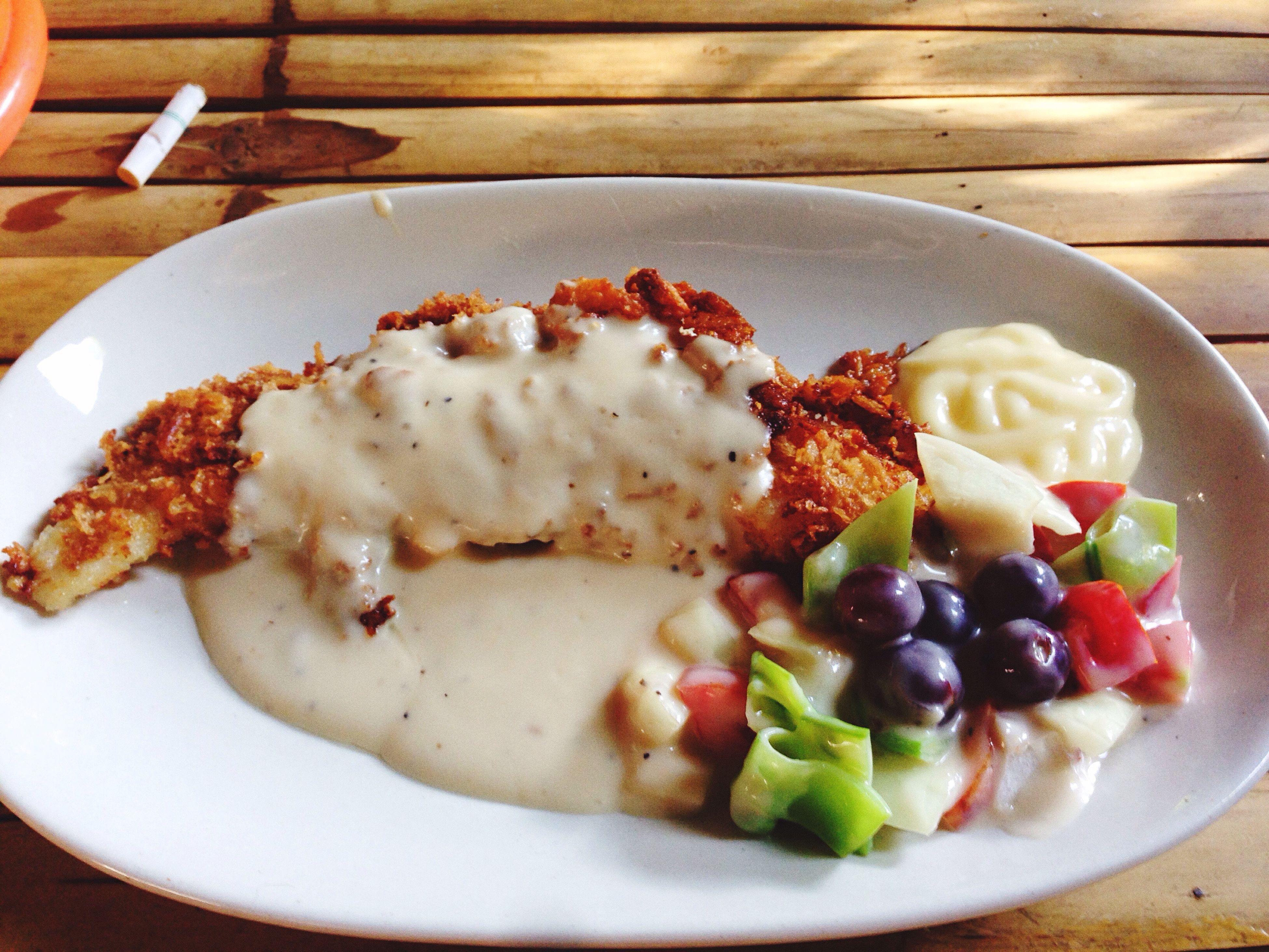 Fried fish and salad cream