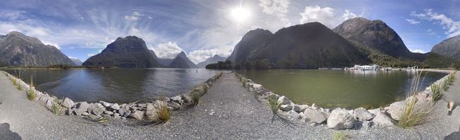 Milford Sound Mitre Peak Purenz Fiordland Panoramic Water Tranquil Scene Scenics Tranquility Mountain Reflection Beauty In Nature Sunlight Mountain Range Sky Nature Idyllic Cloud - Sky Cloud Calm Sunny Sun Non-urban Scene Sea Fresh On Eyeem