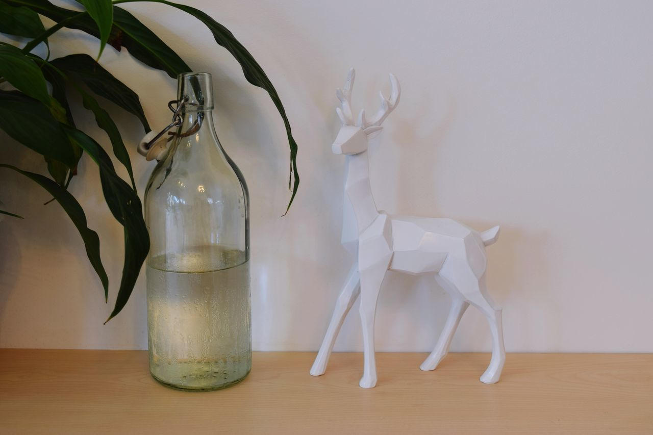 Home Decor Bottle Deer Vase Drinking Glass Close-up Indoors  Table No People Drink White Background Lifestyles Plant Leaves Design Decoration Home Interior Water Refreshment (null)Fresh Freshness