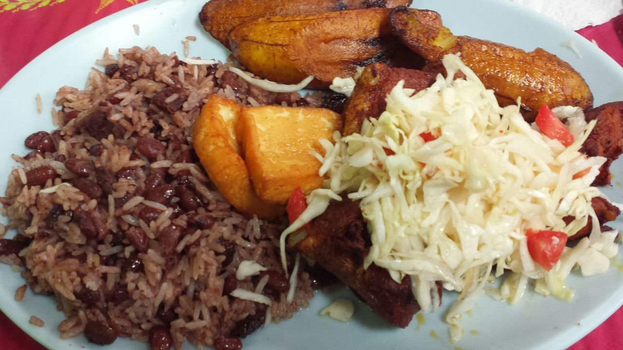Food Comidas Nicaraguense PlatanoFrito Gallo Pinto Rice And Beans