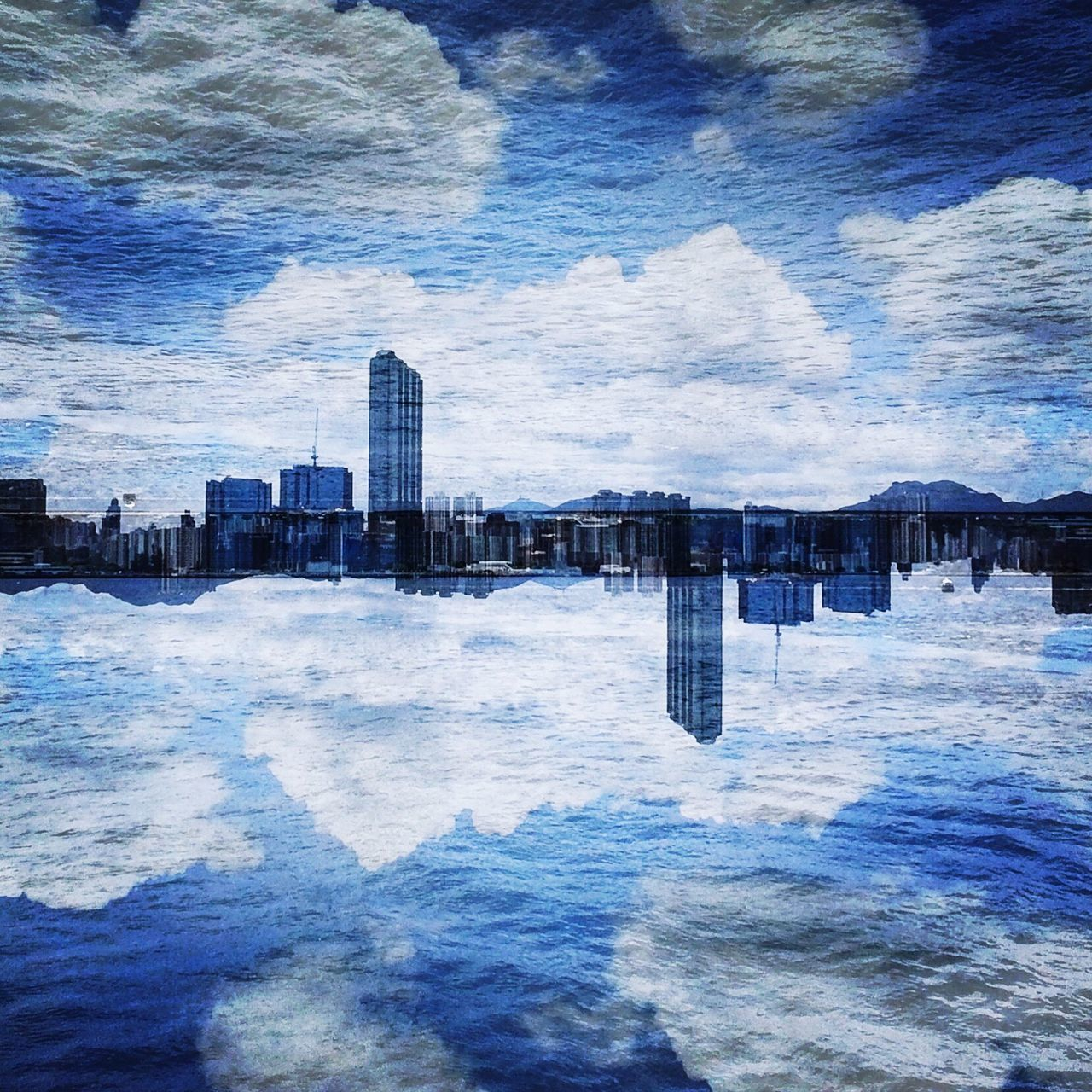 double exposure Building Exterior Skyscraper Sky City Cloud - Sky Waterfront Cityscape Outdoors Sea Day No People Modern Nature Double Exposure Skyandclouds  Weekend Sqare Discoverhongkong Beautiful Shadows & Lights From My Point Of View EyeEmNewHere EyeEm Selects InstaxSQ10 Fujifilm