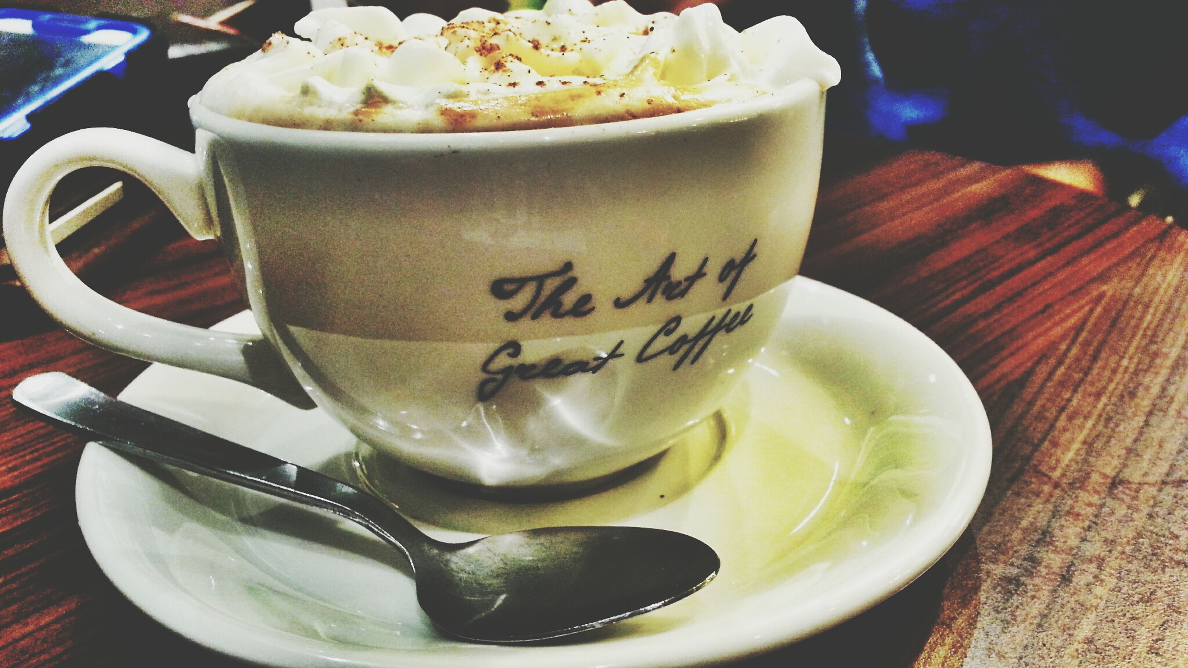 food and drink, indoors, freshness, table, drink, still life, refreshment, text, close-up, food, western script, high angle view, coffee cup, healthy eating, no people, plate, spoon, sweet food, communication, coffee - drink