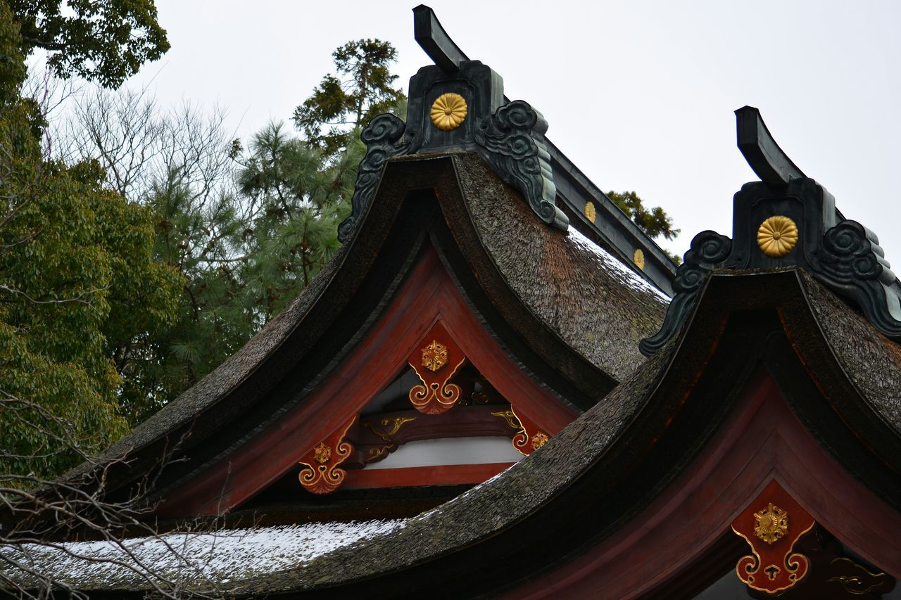 High Section Of Japanese Temple During Winter