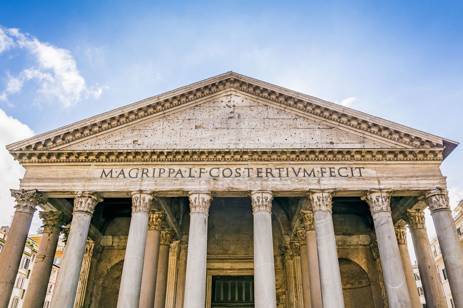 Architectural Column Architecture Building Exterior Built Structure City Cloud - Sky Columns Day Famous Place Government History Low Angle View No People Outdoors Pantheon Pantheon Rome Pediment Rome Rome Italy Sky Text Tourism Travel Destinations