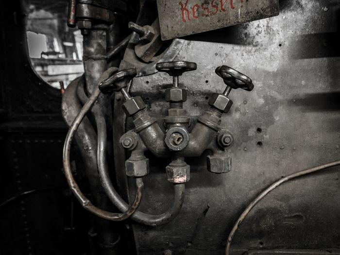 Metal Metallic No People Old Outlet Plug Valve Railroad Railroad Engine Valves