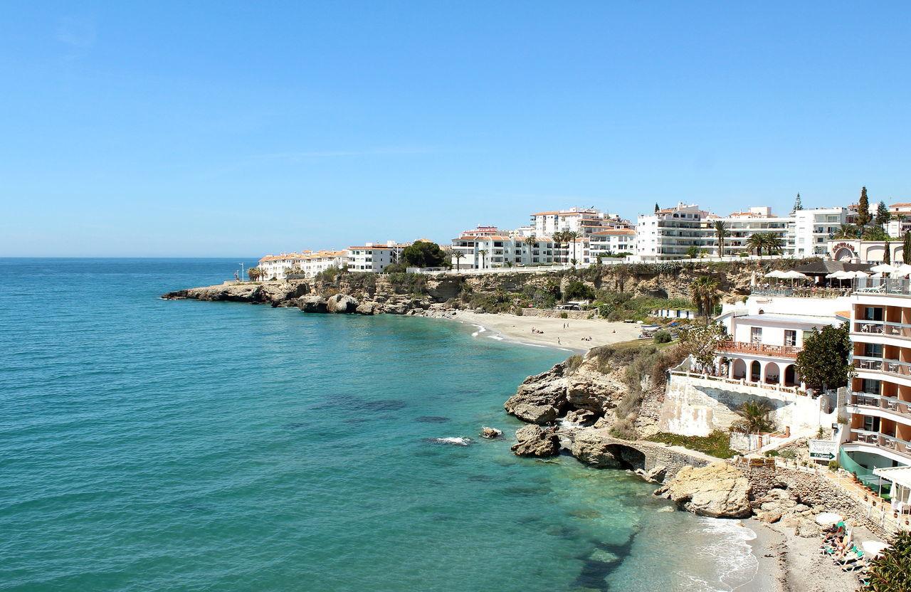 Balcony Of Europe Beach Blue City Clear Sky Coastline Mediterranean Sea Nerja Resort Sea SPAIN Travel Destinations Water Waterfront